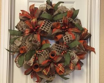 Fall Burlap Wreath Moss Green Burnt Orange Owl Print Deco Mesh Wreath Front Door Decor