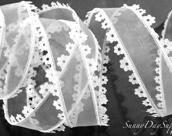 Wired Flowered Edge Sheer Ribbon, White and Sheer, Perfect for Gifts, White Sheer Trim, 2 YARDS, 1.5 inches wide, Romantic, Floral designing