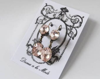 SHIPPING DELAY SALE 10% Blush Pink Earrings, Pink Crystal Earring, Blush Dangle Earring, Blush Pink Bridesmaid Earring, Pale Pink Wedding Ea