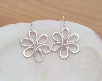 Daisy Earrings, Hammered Argentium Sterling Silver