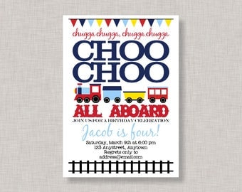 Train Invitation, Train Birthday Invitation, Train Party, Printable