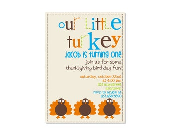 Little Turkey Birthday Invitation