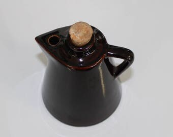 Vintage Ceramic Cruet Brown with Cork Stopper Beveled Bottom