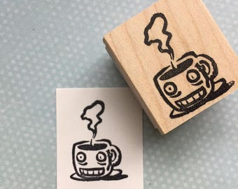Wired Cup of Joe Mounted Rubber Stamp