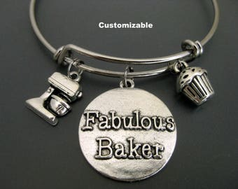 Fabulous Baker / Baking Bracelet / Gift for Baker / Cupcake Bracelet  / Dough Mixer Charm /  Adjustable Charm Bracelet / Expandable Bangle