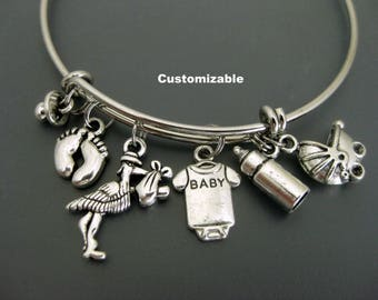Mom to be Bangle / Expecting Mom / Baby Shower Bangle / Stork Bracelet / New Mother Bangle / Charm Bracelet / Adjustable Bangle / Expandable