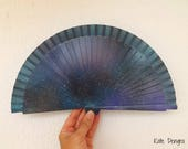 Fashion Trend Galaxy Print SIZE OPTIONS Hand Painted Spanish Handheld Folding Fan Wooden Fabric by Kate Dengra Spain