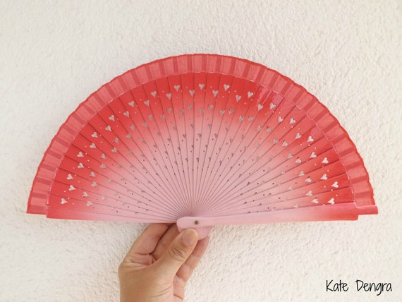 Two Tone Pink With Heart Cut Detail Design Spanish Hand Fan Limited Edition