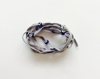 Grey Gray Suede Evil Eye Lucky Eye Beads String Wrap Bracelet Choker Necklace Anklet Hair Accessory