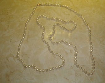 vintage necklace long white faux pearls