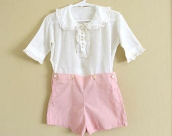 Vintag Girls Romper Set White Dotted Swiss Blouse Pink Cotton Shorts Size 2-3 Years  825b