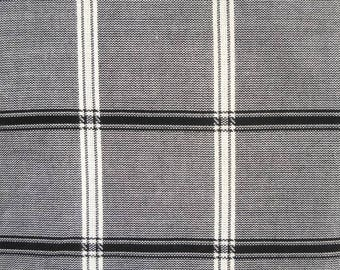 Black and White Plaid Woven Fabric, Fabric by the Yard, Sewing Fabric