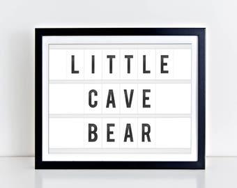 Little Cave Bear Digital Print | 8 x 10 | Little Cave Bear Nursery Print | Instant Download