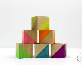 Painted Wood Blocks Set - Neon Rainbow