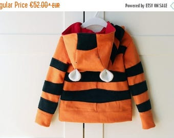 Kids hoodie, tiger sweatshirt, tiger sweater, unisex kids, gift for kids. Halloween costume. Sustainable children clothing. Made in Italy