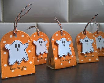 Halloween Party Favors Set of 5, Halloween Candy Wrappers, Ghost Boxes, Hershey Nugget Candy Package, Halloween Treats, Halloween Ghost