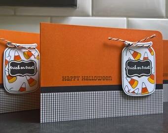 Mason Jar Halloween Card, Candy Corn Card, Trick or Treat Card, Happy Halloween Greeting Card