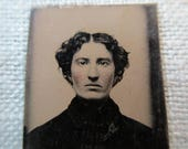 antique miniature gem tintype photo - 1800s, woman piercing eyes, rosy cheeks
