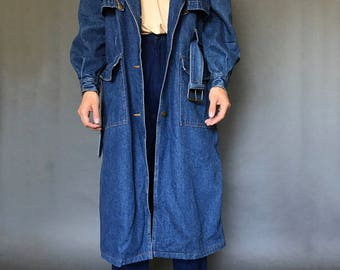 RESERVED Denim Belted Trench Coat