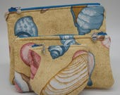 Shell Pouch Set, Seashell Pouches, Glasses Case, Ditty Bag, Pencil Case, Stash Bag, Zip Pouch, Coin Purse, Gifts for Her (Set of 3)