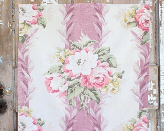 Coral Pink Cabbage Roses Floral Pattern 30s 40s Vintage Fabric Decorative Throw Pillow Cushion
