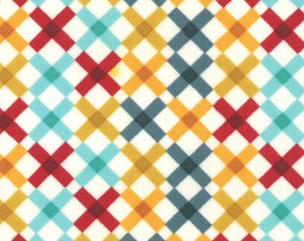 Liz Scott Fabric, Check Lattice Bright Cream, Domestic Bliss by Liz Scott for Moda Fabrics, 18075-16