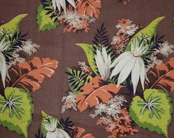 Huge 14 Yards of Beautiful Vintage Mid Century NOS Bolt Barkcloth Hollywood Regency  Tropical Leaves