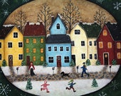 Christmas Folk Art Painting Primitive Wood Tray, Country Village Street Scene, Snowflakes, Saltbox Houses, Children, Mittens MADE TO ORDER