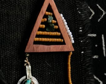 The Element of Air    Hand carved Lignum Vitae Wood  with hand beading within the triangle kuchi coin bell earrings