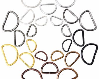 D rings metal buckles for webbing 15 20 25 mm multi colours available