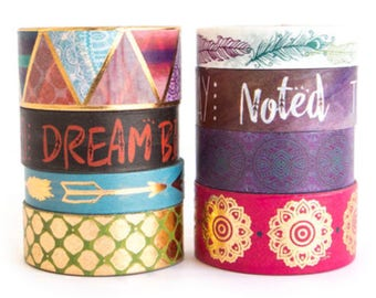 GOLD FOIL BOHO Washi Tapes Tube Set of 8 Crafting Tape Rolls Planners Planning Craft Planner Crafts Metallic Quotes Arrows Feathers Bohemian
