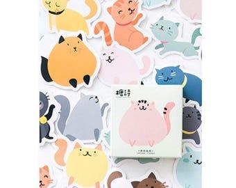 Kawaii Cat Stickers - Cute Cat Stickers - Cat Stickers, Set of 45