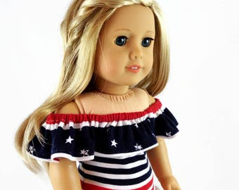 18 inch Doll Clothes, 4th of July, Peasant top, Ruffled Skirt designed to fit like American Girl® doll clothes, summer clothes