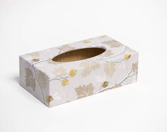 Silver Acorn Long Tissue Box Cover handmade in UK wooden perfect gift