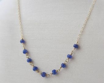 blue sapphire necklace, beaded sapphire necklace, gold chain necklace, sapphire necklace, blue gemstone necklace, precious stone necklace