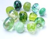 Handmade lampwork glass bead set of 12 green renegade beads - lampwork orphan beads