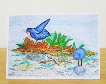 Moorhens Greetings Card, Bird Greetings Card, Recycled Greetings Card, Art Card