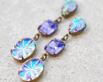 Purple Blue Rainbow Earrings Swarovski Crystal Tanzanite Purple Blue Rainbow Vintage Glass Iridescent AB Maid of Honor Bridesmaids Dangles