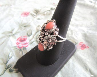 Sterling Silver Baroque Style Ring with Pink Stones SZ 8