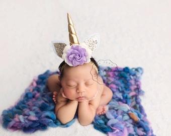 newborn unicorn headband, unicorn headbands, unicorn birthday, unicorn props, infant headbands, baby headbands, purple