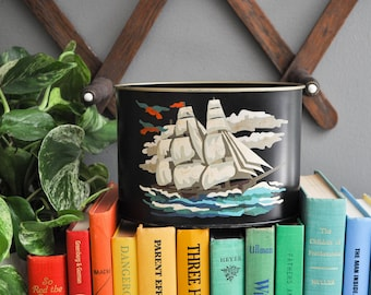 Vintage Metal Clipper Ship Pencil Holder or Storage Container