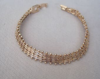 Upscale Chevron Bordered in Beaded Metal Worked Rose Gold Chain Bracelet