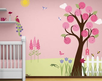 Flower Garden Wall Mural Stencil Kit for Girls or Baby Room (stl1002)