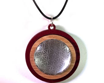 Lens of Life Wooden Pendant with engraved Flower of Life Glass Window - Sustainable Oak Wood on Red Stained Maple Sacred Geometry Necklace