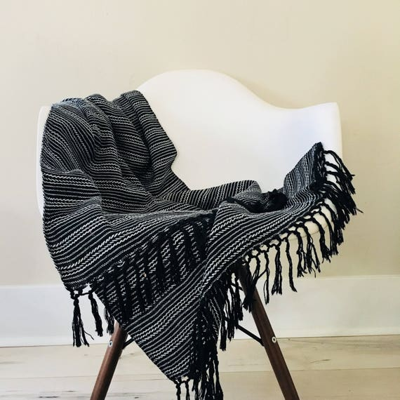 Vintage Black and White Shawl Tribal Striped Pattern Black Fringe Ethnic Fabric Boho Scarf
