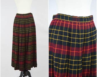 Summer Sale Vintage Gloria Sachs black, red and yellow plaid wool skirt / high waisted pleated skirt