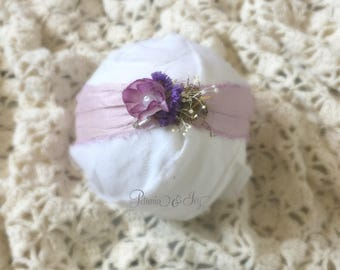 Pale Purple Flower Tieback, newborn, baby girl, flower, hair accessories, photography prop, ready to ship