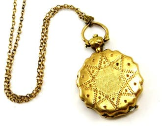 Gold Antique Locket Necklace Victorian Watch Fob Civil War Pinchbeck Requilary Mourning Locket With Glass 1870s Antique Jewelry