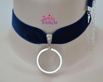 """Wide 22MM 7/8"""" Velvet Ribbon Choker, Thick O Ring Keyring Charm, BDSM Collar - br, 12 colours, custom size :)"""