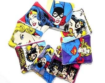 Facial Cleansing Cloth, Reusable Makeup Remover Pads - Cotton Rounds - Set of 8 - Random mix of Women Superheroes fabric